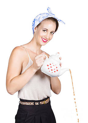 Pour Photograph - Pinup Girl Pouring Coffee by Jorgo Photography - Wall Art Gallery
