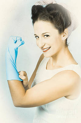 Pinup Housewife Flexing Muscles. Cleaning Strength Art Print