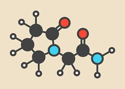 Piracetam Nootropic Drug Molecule Print by Molekuul