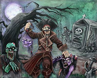 Zombie Painting - Pirate's Graveyard by Laura Barbosa