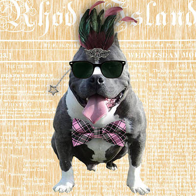 Pitbull Mixed Media - Pitbull Bowtie Collection by Marvin Blaine