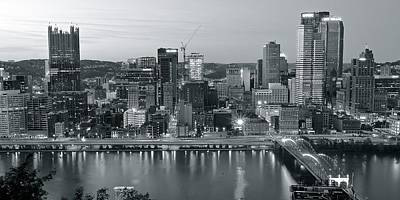 Pittsburgh Steeler Photograph - Pittsburgh Black And White Panorama by Frozen in Time Fine Art Photography