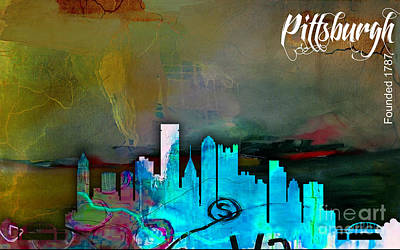 Mixed Media - Pittsburgh Skyline Watercolor by Marvin Blaine
