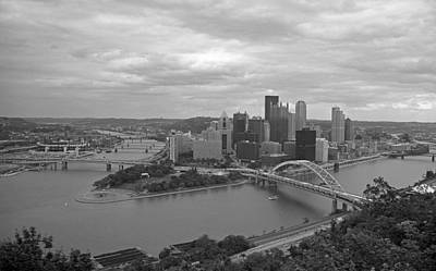 Pittsburgh - View Of The Three Rivers Art Print by Frank Romeo