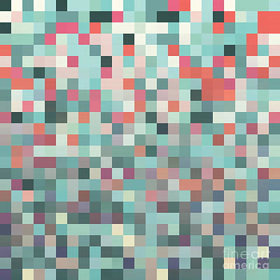 Mosaic Wall Art - Digital Art - Pixel Art Style Pixel Background by Mike Taylor