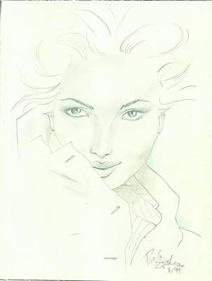 Female Face Drawing - Pjs Art by P J Lewis
