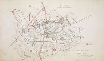 Netherlands Map Photograph - Plan Of The Battle Of Waterloo by British Library