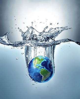 Digitally Generated Photograph - Planet Earth Splashing Into Water by Leonello Calvetti