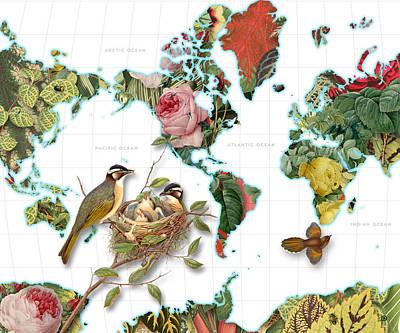 Watercolor Map Digital Art - Plant World Map by Gary Grayson
