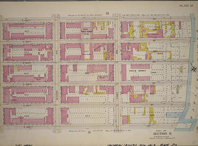 Harlem Drawing - Plate 37, Part Of Section 6 Bounded By E by Litz Collection