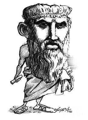 Plato, Caricature Art Print by Gary Brown