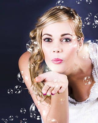 Floating Girl Photograph - Playful Bride Blowing Bubbles At Wedding Reception by Jorgo Photography - Wall Art Gallery