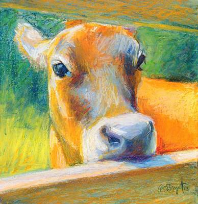 Dairy Cows Painting - Playing Bashful by Bethany Bryant