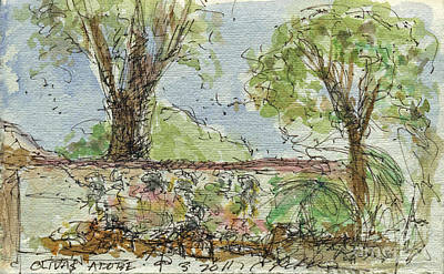 Sepia Ink Drawing - Plein Air Sketchbook.  Olivas Adobe Ventura California Concert. 9.3.2011.  by Cathy Peterson