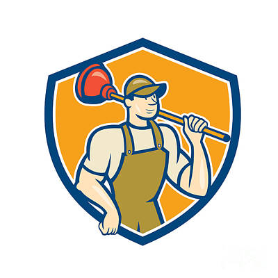 Plunger Digital Art - Plumber Holding Plunger Cartoon by Aloysius Patrimonio