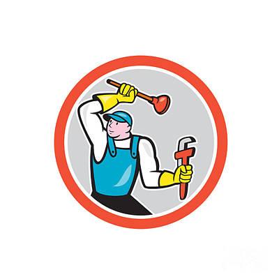 Plunger Digital Art - Plumber Holding Wrench Plunger Cartoon by Aloysius Patrimonio