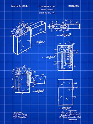 Pocket Lighter Patent 1934 - Blue Art Print by Stephen Younts