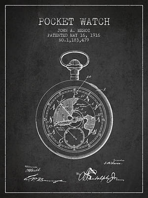 Alarm Digital Art - Pocket Watch Patent From 1916 by Aged Pixel