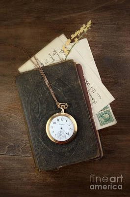 Pressed Flowers Photograph - Pocketwatch On Old Book by Jill Battaglia