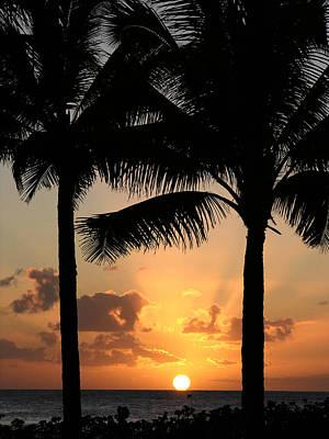 Poipu Beach Sunset Art Print by Robert Lozen