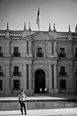 police and guards outside palacio de la moneda palace Santiago Chile Art Print