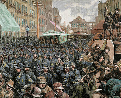 Police Officers Dispersing The Strike Art Print by Prisma Archivo