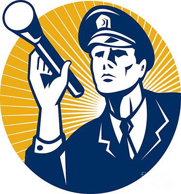 Policeman Security Guard With Flashlight Retro Art Print by Aloysius Patrimonio
