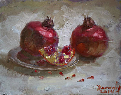 Plate Painting - Pomegranates by Ylli Haruni