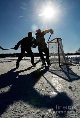 Pond Hockey Photograph - Pond Hockey by Steve Somerville