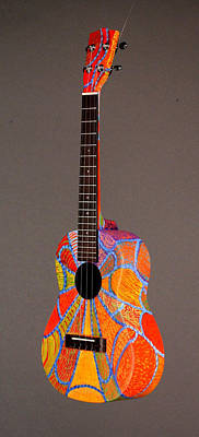 Painted Ukulele Sculpture - Pono Tenor Ukulele by Jean Groberg