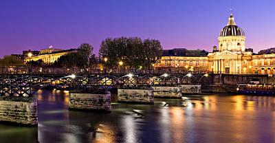 Photograph - Pont Des Arts At Night / Paris by Barry O Carroll
