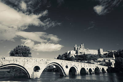 White River Scene Photograph - Pont Vieux Bridge With Cathedrale by Panoramic Images