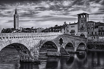 Photograph - Ponte Pietra Verona In Black And White  by Carol Japp