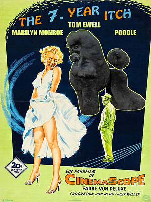 Poodle Painting - Poodle Art - The Seven Year Itch Movie Poster by Sandra Sij