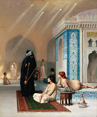 Jean-leon Gerome Painting - Pool In A Harem by Jean-Leon Gerome