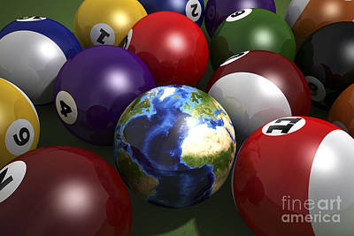 Digital Art - Pool Table With Balls And One by Leonello Calvetti