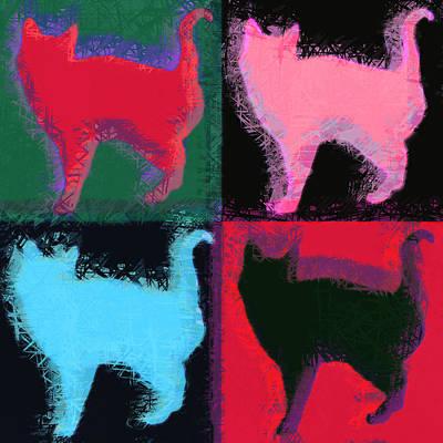 Kitty Digital Art - Pop Art Cats by David G Paul