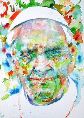 Pope Francis - Watercolor Portrait Art Print by Fabrizio Cassetta