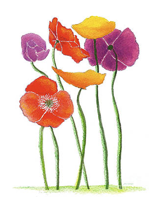 Art Print featuring the painting Poppies A Plenty by Nan Wright