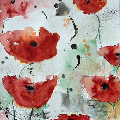 Poppies Flower- Painting Art Print by Ismeta Gruenwald