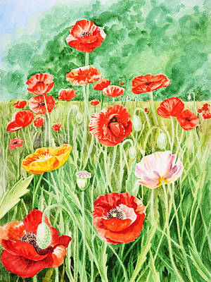Poppies Field Painting - Poppies by Irina Sztukowski