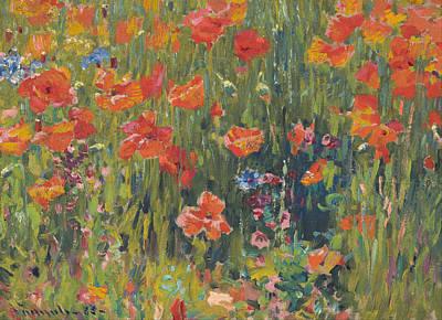 Robert Plant Framed Painting - Poppies by Robert Vonnoh