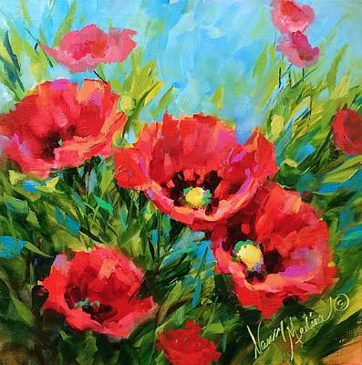 Landscape Oil Painting - Poppy Tango by Nancy Medina