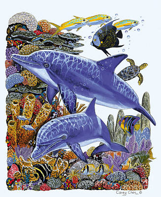 Shark Painting - Porpoise Reef by Carey Chen