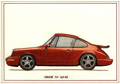 German Art Painting - Porsche 911 964 Rs by Juan  Bosco