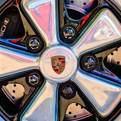 Vintage Sports Cars Photograph - Porsche Wheel Rim Emblem by Jill Reger