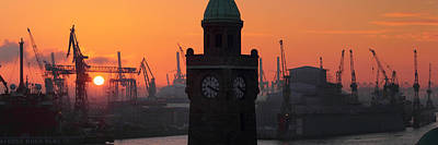 Photograph - Port Of Hamburg Sunset by Marc Huebner