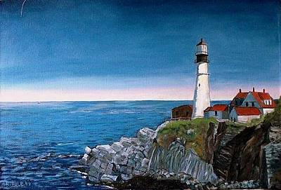 Painting - Portland Headlight by Jack Riddle