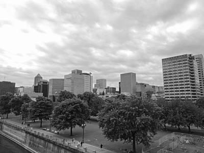 Skyline Photograph - Portland Skyline Black And White by Cityscape Photography