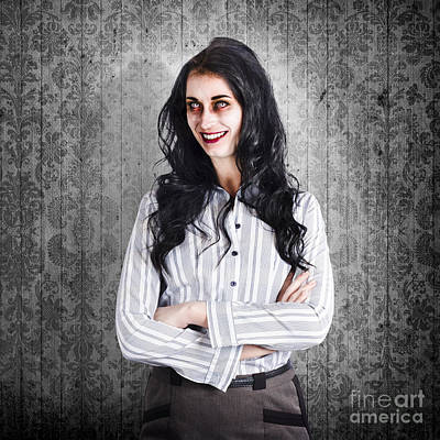 Portrait Of A Confident Dead Businesswoman Print by Jorgo Photography - Wall Art Gallery